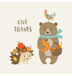 Cute thanksgiving card vector