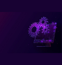 desktop computer and cogs low poly vector image