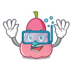 Diving rose apple character cartoon vector