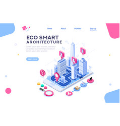 eco smart city template for presentation vector image