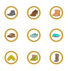 Elegant shoe icons set cartoon style vector