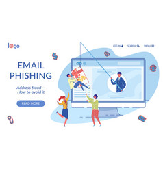 email phishing landing page flat template vector image