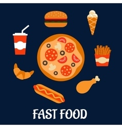 Fast food icons in flat style vector