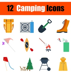 Flat design camping icon set vector image