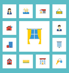 Flat icons home woman realtor trinket and other vector