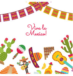 flat mexico attributes set background vector image