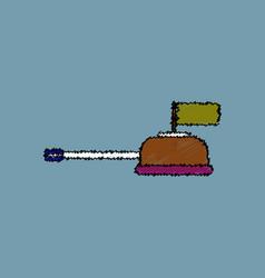 Flat shading style icon tank main gun vector