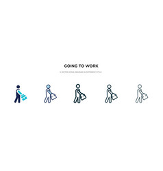 Going to work icon in different style two vector