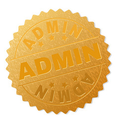 Gold admin medallion stamp vector