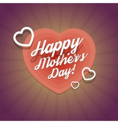 Happy mothers day vintage card with hearts vector