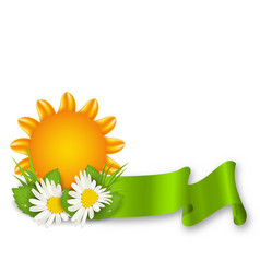 happy summer background with chamomiles flowers vector image