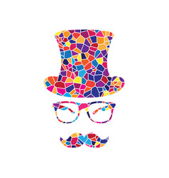 hipster accessories design stained glass vector image