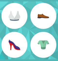 icon flat garment set of man shoe blouse sport vector image