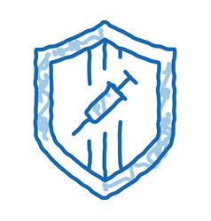 Injection protection doodle icon hand drawn vector