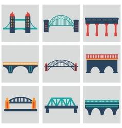 isolated bridges big icons set vector image