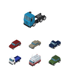 isometric automobile set of car truck auto and vector image