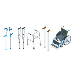 isometric set of mobility aids including a vector image