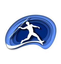 javelin throw athlete throwing spear white vector image