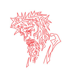 jesus face sketch drawing vector image