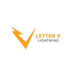 letter v lightning graphic design template vector image