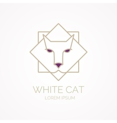 Linear insulated cat logo on a white background vector