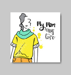 love mom card mothers day poster design with hand vector image