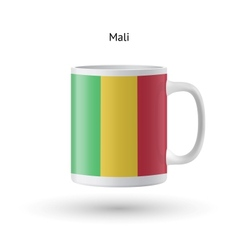 Mali flag souvenir mug on white background vector