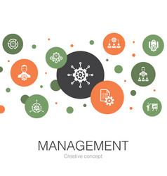 Management trendy circle template with simple vector