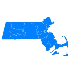 Map of Massachusetts vector image