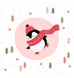 merry christmas card with penguin ice skating vector image