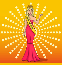 miss the world of beauty the girl the winner of vector image