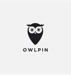 Modern minimalist owl pin logo icon template vector