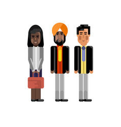 Multiethnic team in business suits vector