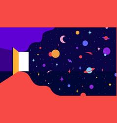 open door with universe dreams modern flat vector image