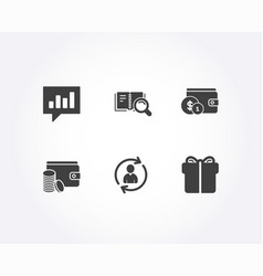 Person info payment method and search book icons vector