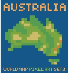 pixel art style of continent australia physical vector image vector image