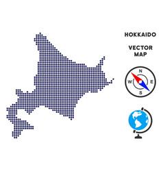 Pixelated hokkaido island map vector