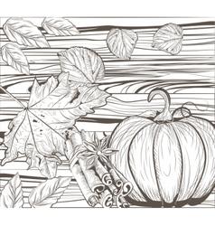 Pumpkin Autumn Vintage card vector