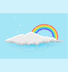 rainbow and clous in sky background with stars vector image