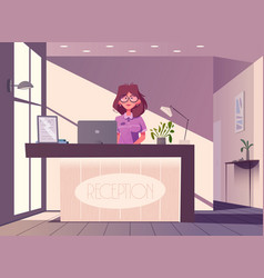 reception desk hotel receptionist character vector image