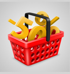 red basket bargain vector image