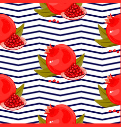 red fresh pomegranate pattern art food design vector image