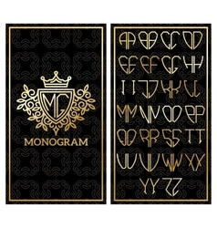 retro card with monogram and a set letters vector image