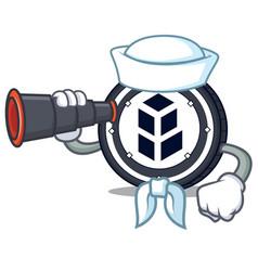 Sailor with binocular bancor coin mascot cartoon vector