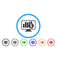 Sales monitor rounded icon vector