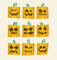 scary face of halloween pumpkin icons set vector image