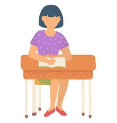 Schoolgirl sitting desk writing in notebook vector
