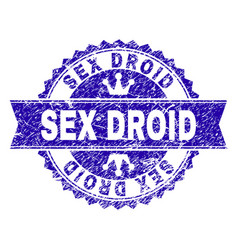 Scratched textured sex droid stamp seal with vector