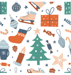 seamless pattern with cute hand drawn objects vector image