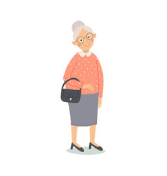 senior lady with handbag standing old person vector image